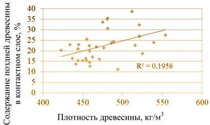 Рис. 7. Влияние плотности древесины на содержание поздней древесины в контактном слое