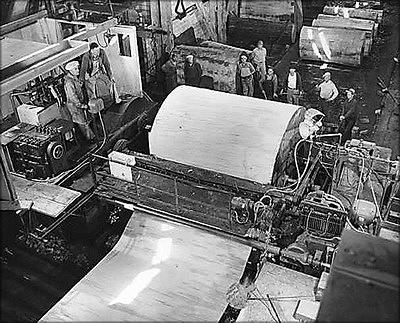 Лущение шпона на заводепо производству фанеры1950-е годы (США)
