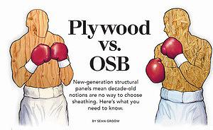 Заголовок статьи в американском журнале о достоинствах и недостатках фанеры и OSB, изображавший фанеру и плиту OSB в виде спортсменов, сошедшихся в боксерском поединке, 2005 год