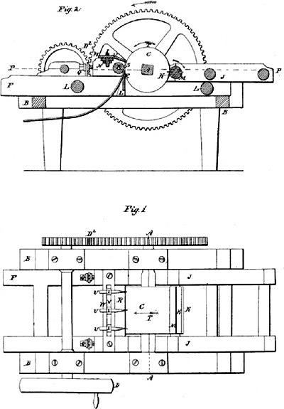 Лущильный станок, разработанный Генри Хамфри.США, 1842 год