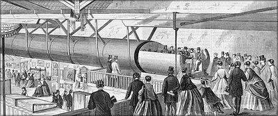 Прототип подвесной железной дороги Альфреда Эли Бича, изготовленный из фанеры. США, 1867 год  – общий вид