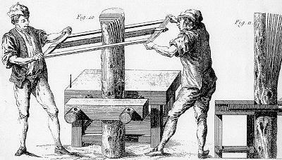 Изготовление шпона пилением. Европа, начало XVII века