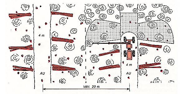 Рис. 6. Типовая схема работы харвестера при расстоянии между волоками 20 м