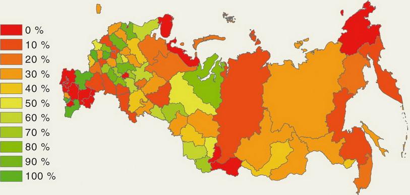 Доля материалов лесоустройства сроком давности менее 10 лет в субъектах РФ
