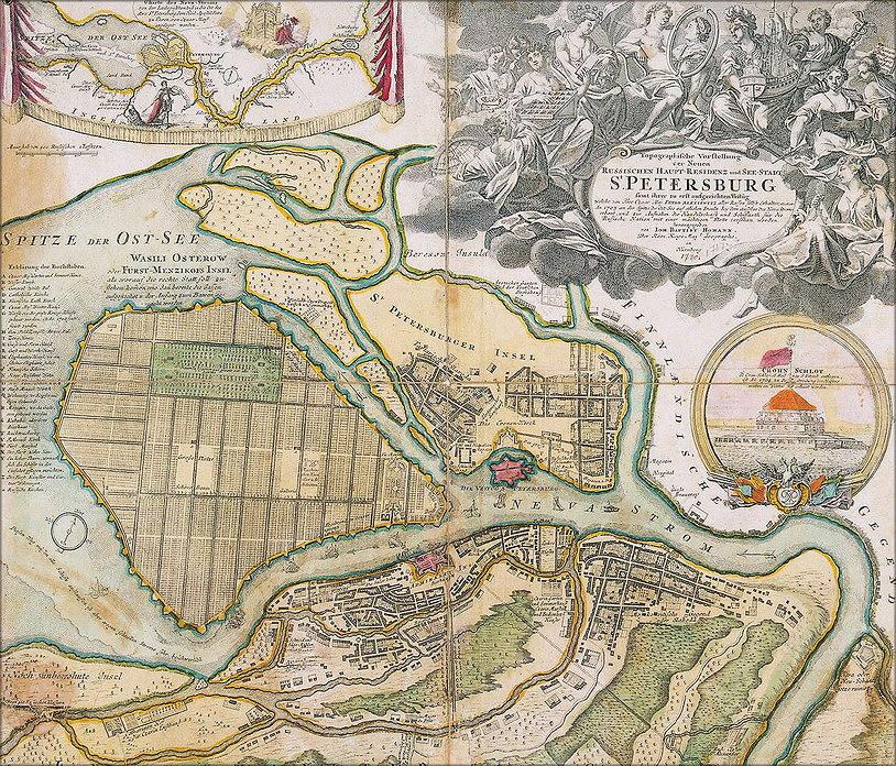 Иоанн Батист Хоманн. План Санкт-Петербурга (1726–1727 гг.). Российская национальная библиотека