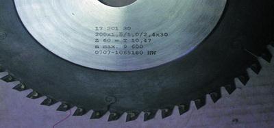 Рис. 1. Ступенчатая пила для станков с механической подачей (корпус пилы – 2,4 мм, ширина пропила – 1,5 мм)