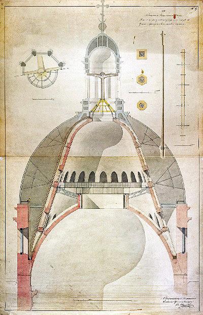 9. Детальный рисунок по устроению труб в куполе Исаакиевского собора фонарика для отвода сырости, 1845 г. Архив НТБ ПГУПС