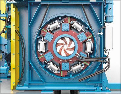 Рис. 3. Ротор окорочного станка с воздушным уплотнением(из презентации Valon Kone)