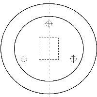 Рис. 2. Возможные формы фиксатора (в плане): а – круглая; б – треугольная; в – звездообразная