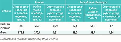 Показатели лесовосстановления и мероприятий ухода в молодняках в России и Республике Беларусь