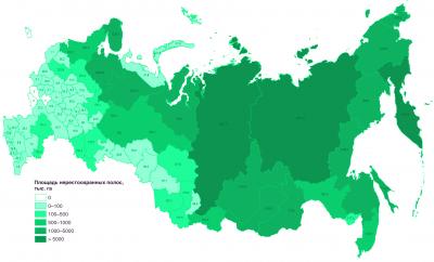 Рис. 2. Площади нерестоохранных полос лесов в разных административных субъектах РФ