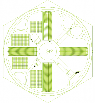 Рис. 6. Концептуальный проект тепличного комплекса по выращиванию посадочного материала с ЗКС (вид сверху)