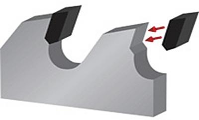 Рис. 4. Схема напайки пластин стеллита на зубья пил