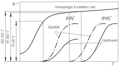 Рис. 3. Характерные кинетические зависимости s' в краевой и серединной зонах фанерного пакета