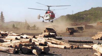 Трелевка с помощью вертолета