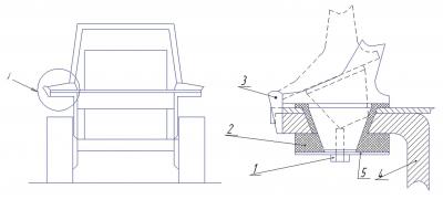 Рис. 3. Четырехстоечный защитный каркас 1 – вертикальные стойки, 2 – сетка, 3 – продольная балка, 4 – крыша, 5 – поперечная балка