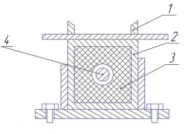 Рис. 5. Крепление каркаса через упругие элементы: б – второй вариант: 1 – стойка каркаса, 2 – втулка, 3 – упругий элемент, 4 – болт