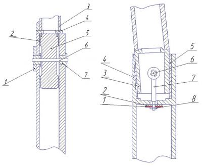 Рис. 6. Упругие опоры каркаса кабины трактора 1 – стойка каркаса, 2 – втулка, 3 – упругий элемент, 4 - болт