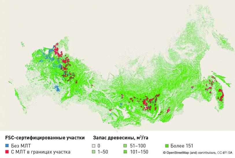 FSC -сертифицированные леса Российской Федерации с МЛТ и без МЛТ