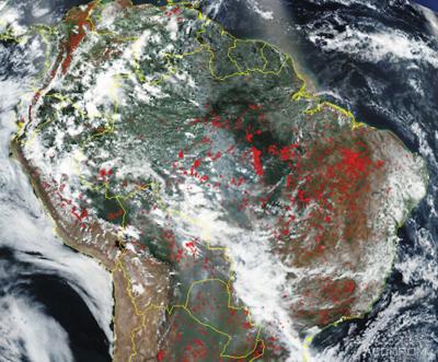 мозаика космоснимков VIIRS за 27 августа 2019 года с наложенными термоточками