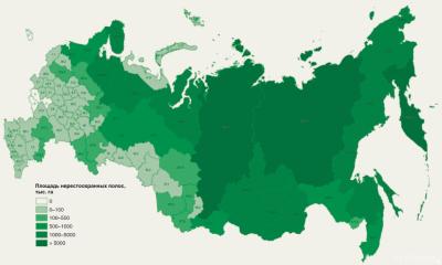 Площади нерестоохранных полос лесов в различных административных субъектах Российской Федерации