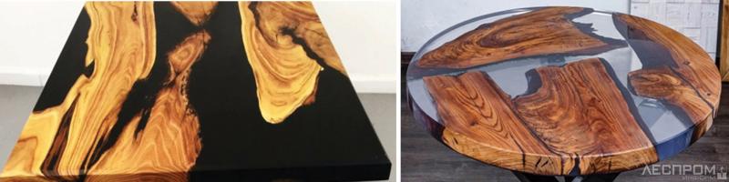 Рис. 6. Варианты столешниц, выполненных из древесины твердых пород и эпоксидной смолы