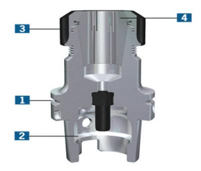 Рис. 6. Патрон HSK63F DIN 69063 для фрезы с цилиндрическим хвостовиком (форма F в разрезе)