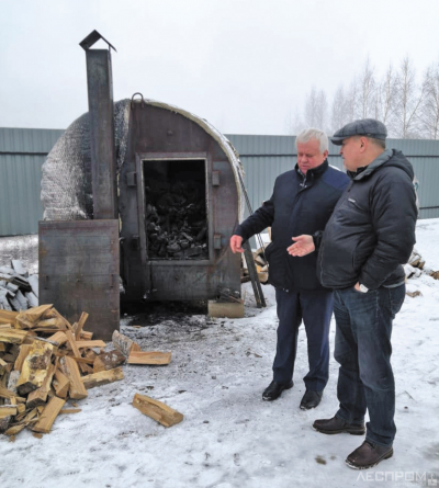 Печь для производства угля из отходов производства и низкотоварной древесины
