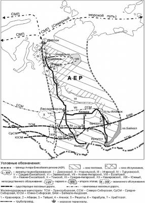 Карта-схема АЕР и СМП с главными градообразующими портами: Дудинка, Лесосибирск и Красноярск