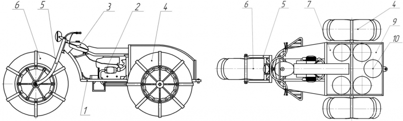 Рис. 2. Общий вид легкого колесного вездехода с контейнерами для сбора березового сока