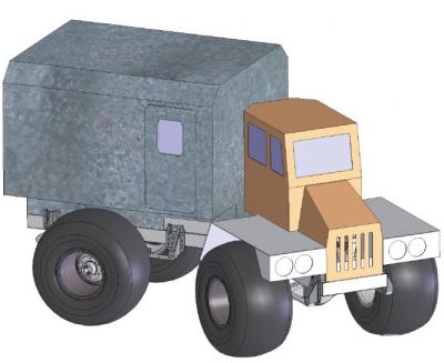 Рис. 3. Рекомендуемая конструкция колесной вездеходной машины на пневматиках сверхнизкого давления для предприятий и организаций лесного комплекса