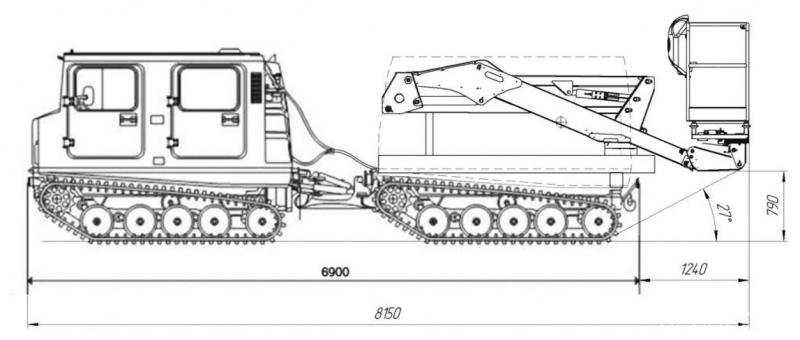 Рис. 8. Гусеничный вездеход BV-206 «Лось» с автогидроподъемником Socage А-314
