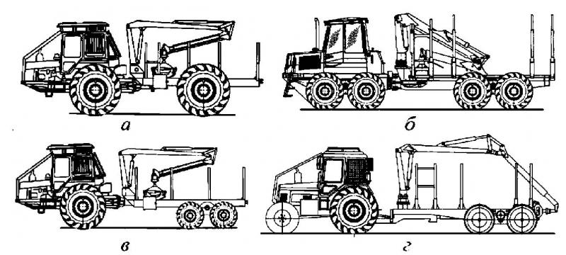 Рис. 1. Компоновочные схемы погрузочно-транспортных машин: а – 4К4 (МЛПТ-354); б – 8К8 (FMG-810); в – 6К6 (МЛ-131); г – двухзвенная (МПТ-471)