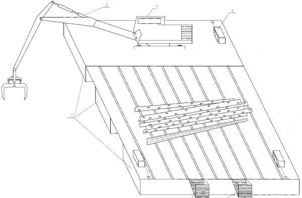 Рис. 9. Технологическая схема подъема топляка с погрузкой на палубу лесосборщика и выгрузкой гидроманипулятором