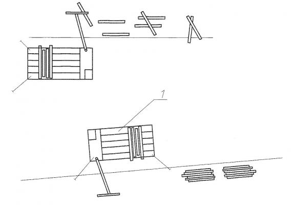 Рис. 10. Схема освоения разнесенной древесины лесосборщиком с выгрузкой гидроманипулятором на погрузочную площадку