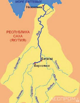Рис. 1. Карта реки Яна 26