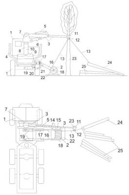 Рис. 2. Машина для комбинированной трелевки сортиментов: а – вид сзади; б – вид сверху