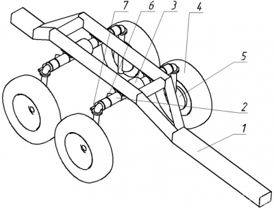 Рис. 3. Компоновка двухосного прицепа для погрузочно-транспортной машины