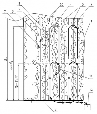 Рис. 6. Схема разработки лесосеки с сокращением перемещений форвардера по пасеке