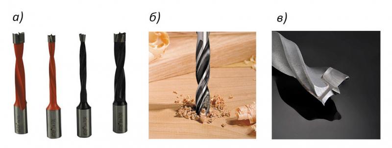 Рис. 2. Сверла для глухих отверстий: а – станочные; б – сверление твердой древесины; в – напаянный наконечник из HW