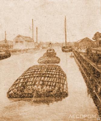 Рис. 1. Плоты ЦНИИ лесосплава для транспортировки в открытом море в порт Мемель
