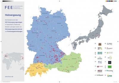 Рис. 4. Карта с расположением газогенераторных ЭС, работающих на древесной биомассе, в ЕС и в Японии