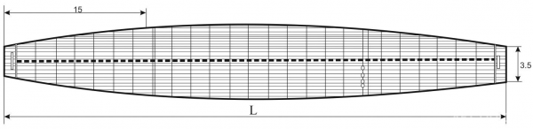 Рис. 1. Форма сигарного плота в плане (вид сверху)