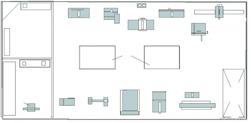 Рис. 1. Схема расстановки оборудования в столярной мастерской (220 В)