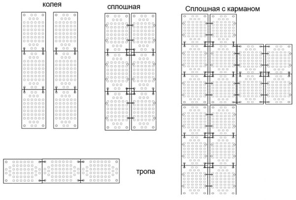 Рис. 5. Варианты устройства покрытия из пластиковых матов для временных транспортных путей