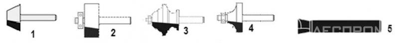 Рис. 6. Типы концевых фрез: 1 – «скос», 2 – пазовая, 3 – профильная, 4 – радиусная, 5 – «ласточкин хвост»