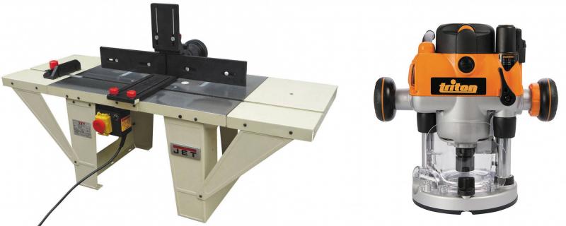 Рис. 7. Универсальный фрезерный стол JET JRT-2 и ручной электрофрезер TRITON