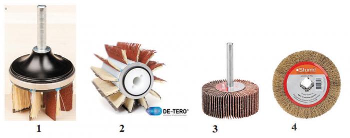 Рис. 22. Шлифовально-щеточный инструмент. 1, 2 – De-Tero, 3 – валик лепестковый «Зубр», 4 – диск Sturm