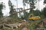 Харвестер Gremo расчищает лесные завалы после урагана Кирилл