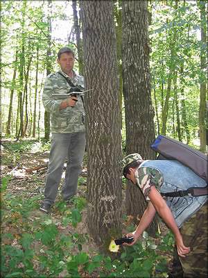 Рис. 10. Обмер дерева и регистрация таксационных характеристик на МТСД